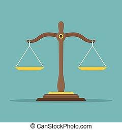 plat, evenwicht, illustration., schalen, justitie, symbool., vector, libra, icon., wet, design.