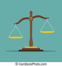 plat, evenwicht, schalen, justitie, symbool., illustratie, vector, libra, icon., wet, design.
