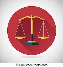 plat, evenwicht, schalen, justitie, symbool, moderne, illustratie, vector, ontwerp, achtergrond, modieus, wet, pictogram