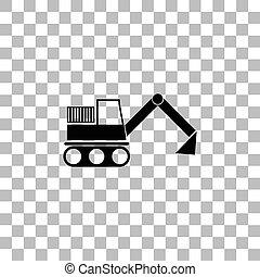 plat, excavateur, icône