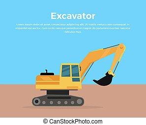 plat, excavateur, illustration, vecteur, conception, bannière
