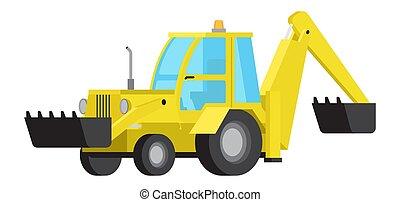 plat, excavateur, seau, isolé, chargeur, vecteur
