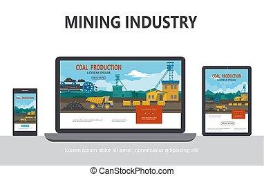 plat, exploitation minière, concept, industrie, conception, adaptatif