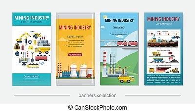 plat, exploitation minière, industrie, bannières verticales