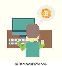 plat, exploitation minière, -, jeune, illustration, dessin animé, derrière, bureau, bitcoin., assied, nerd, homme