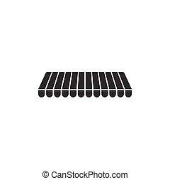 plat, extérieur, rue, isolated., signe., cafés, parasol, illustration, vecteur, magasins, marquise, rayé, icône, baldaquin, restaurants., design.