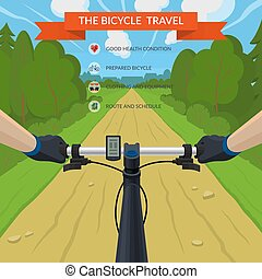 plat, eyes, road., reizen, stijl, illustratie, bicycle., cyclist., vector, bos, handen, fiets, stuur, aanzicht
