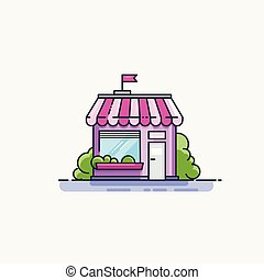 plat, façade, devant, ligne, icon., marché