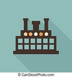 plat, fabriek, pictogram