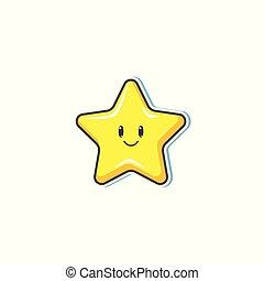 plat, face étoile, vecteur, sourire, dessin animé