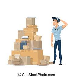 plat, facteur, vecteur, courrier, poste, colis, icône