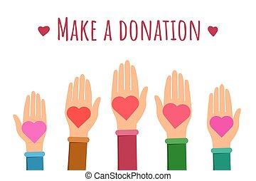 plat, faire, bannière, donation, gabarit
