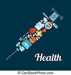 plat, fait, icônes, symbole, haut, seringue, monde médical