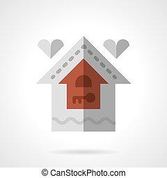 plat, famille, couleur, maison, vecteur, icône