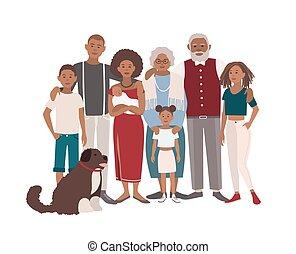 plat, famille, heureux, fils, grand-père, chien, illustration, grand, grand-mère, vecteur, portrait., ensemble., mère, noir, design., filles, père