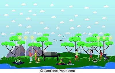 plat, famille, parc, illustration, promenade, vecteur, style.