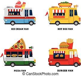 plat, fastfood, straat etenswaar, vrijstaand, illustratie, delivery., vector, ontwerp, van.