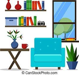plat, fauteuil, moderne, illustration, vecteur, conception, bureau., maison, creativeinterior