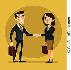 plat, femme affaires, illustration, vecteur, caractères, homme affaires, secousse, dessin animé, hands.