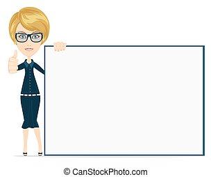 plat, femme, affiche, pointage, illustration, vecteur