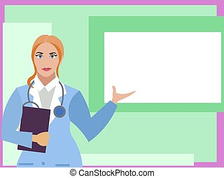 plat, femme, affiche, tablette, docteur, main, square., vecteur, blanc, dessin animé, points