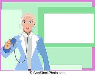 plat, femme, affiche, tablette, docteur, main, square., vecteur, cardiologue, blanc, dessin animé, points