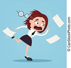 plat, femme, bureau, business, character., ouvrier, illustration, triste, mauvais, vecteur, infructueux, tomber, luck., dessin animé
