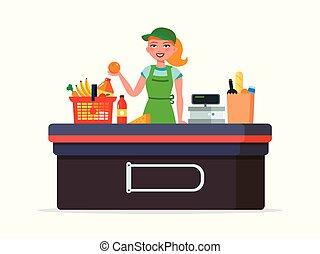 plat, femme, -, caissier, isolé, illustration, arrière-plan., vecteur, supermarché, marchandises, blanc, sourire, caisse, products.