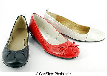 plat, femme, chaussures