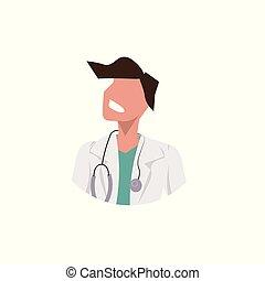 plat, femme, docteur féminin, ouvrier, monde médical, caractère, figure, clinique, concept, stéthoscope, avatar, fond, professionnel, portrait, blanc uniforme, dessin animé, occupation