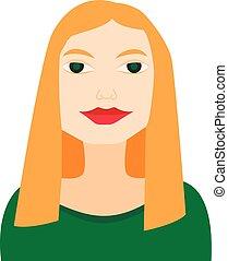 plat, femme, femme affaires, vert, avatar, blond, robe, icône