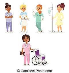 plat, femme, illustration., gens, docteur médical, caractère, vecteur, conception, équipe, doctorat, hôpital, infirmière, personnel