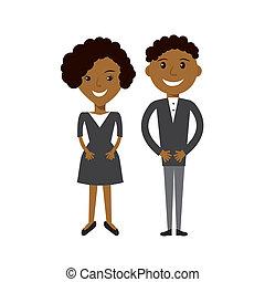 plat, femme, illustration., professionnels, couple, afroamerican, noir, man.