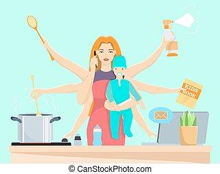 plat, femme, occupé, illustration, multitâche, vecteur, maman, bébé