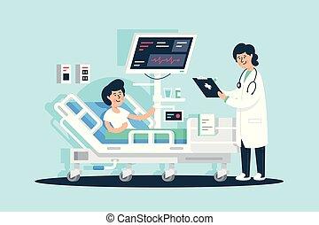 plat, femme, patient, tablette, docteur, monde médical, equipment., jeune