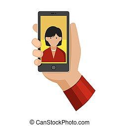 plat, femme, photo, selfie, téléphone, vecteur, confection, icon.