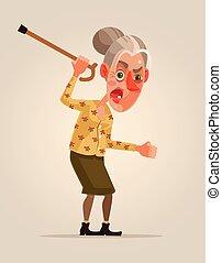plat, femme, vieux, fâché, character., illustration, vecteur, dessin animé