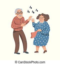 plat, femme, vieux, soins, gens, partie., danse, couple., personnes agées, vecteur, amusez-vous, homme aîné, home., illustration.