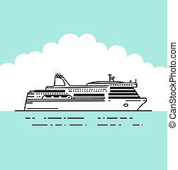 plat, ferryferry, vector, scheepje, illustratie
