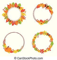 plat, feuilles, -, illustration, automne, vecteur, bannière, rond, set.