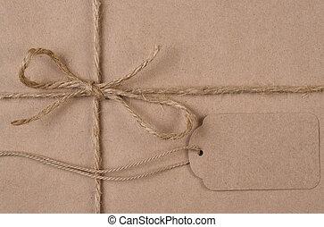 plat, ficelle, brun, uni, étiquette, papier, poser, emballé, présent noël