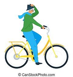 plat, fiets, illustratie, vector, bejaarden, paardrijden,...