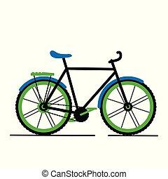 plat, fiets, moderne, vrijstaand, vector, achtergrond, witte , spotprent