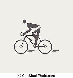 plat, fietser, vector, black , icon., biking
