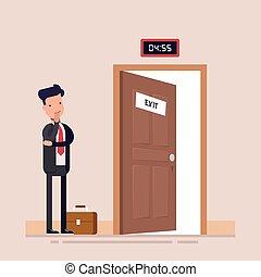 plat, fin, illustration., fonctionnement, character., directeur, homme affaires, day., attente, vecteur, faces, ouverture porte, ou