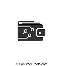 plat, finance, business, portefeuille, concept., ligne, crypto, illustration, isolé, sac, vecteur, arrière-plan., numérique, e-commerce, blanc, style., icône