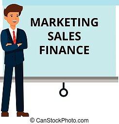 plat, finance, concept, commercialisation, ventes, illustration, isolé, vecteur, fond, homme affaires, blanc, présentation, dessin animé
