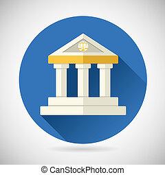 plat, finance, connaissance, maison, justice, musée, moderne, histoire, illustration, symbole, vecteur, conception, fond, tribunal, élégant, droit & loi, ou, banque, icône