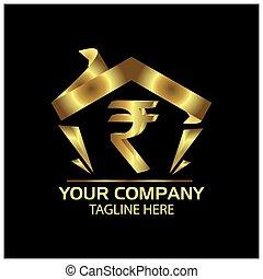 plat, finance, roupie, maison, signe, vecteur, logo, design.