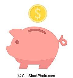 plat, finance0., business, porcin, icône, banque